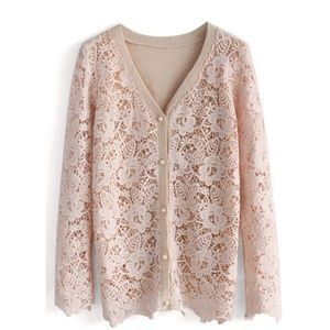 Delicacy Floral Crochet Cardigan in Pink